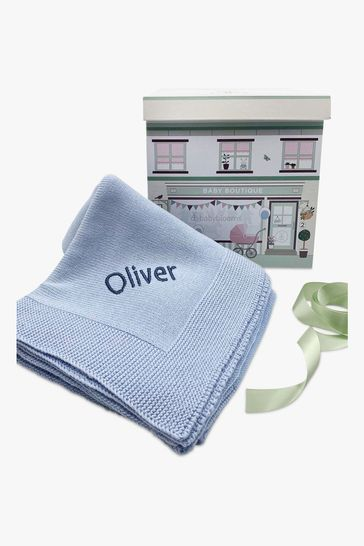 Babyblooms Personalised Blue Luxury Knitted Baby Blanket
