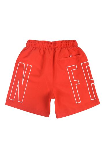 Franklin & Marshall Red Outline Logo Swim Shorts