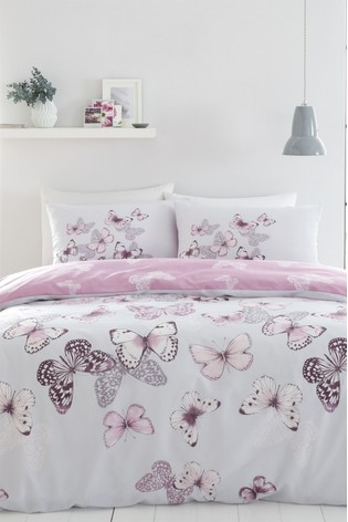 Catherine Lansfield Purple Scatter Butterfly Duvet Cover and Pillowcase Set