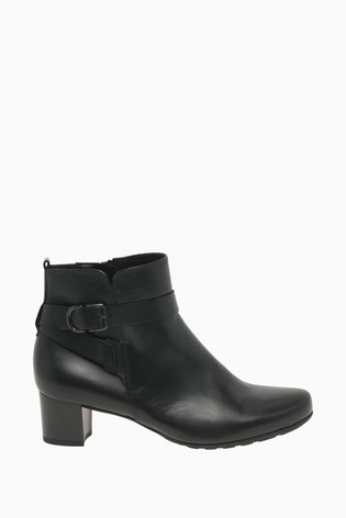 Gabor Kenmore Black Leather Fashion Ankle Boots