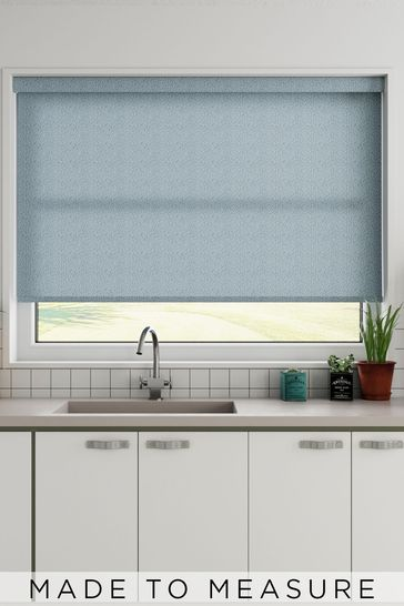 Squiggle Denim Blue Made To Measure Roller Blind
