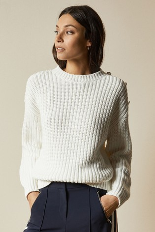 Ted Baker Whtnee Button Sleeve Cable Knit Jumper