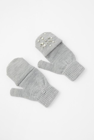 Accessorize Grey Pearl Capped Gloves