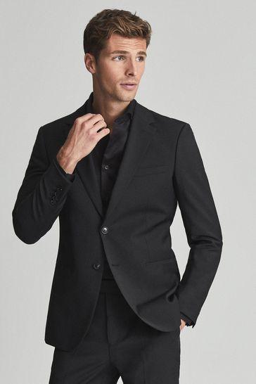 Reiss Black Two Fold Cutaway Collar Slim Fit Shirt