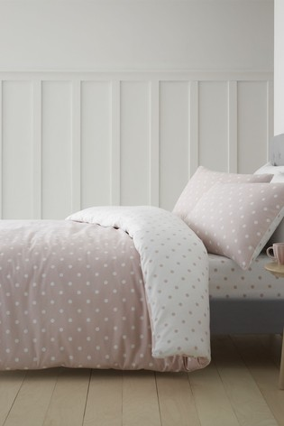 Dotty Brushed Cotton Duvet Cover and Pillowcase Set by Catherine Lansfield