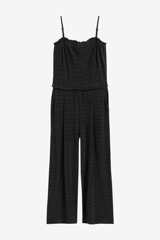 Black Crinkle Bandeau Jumpsuit