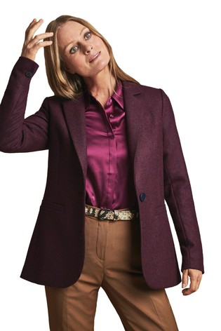 Pure Collection Purple Tailored Wool Blazer