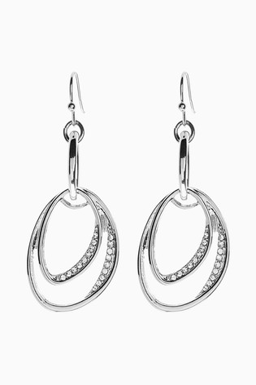 Silver Tone Ellipse Sparkle Drop Earrings