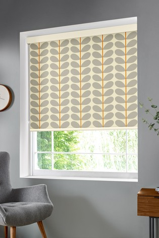 Two Colour Stem Warm Grey Made To Measure Roller Blind by Orla Kiely