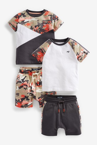 Camo Colourblock 2 Pack T-Shirt And Shorts Set (3mths-7yrs)
