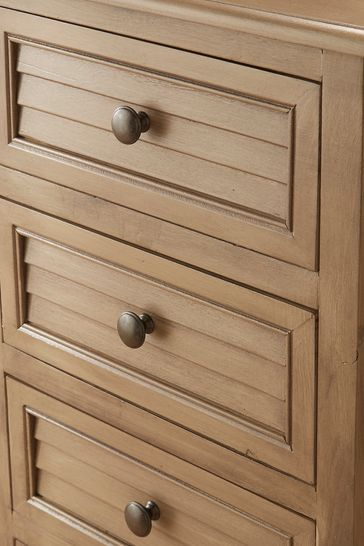 Pacific Lifestyle Taupe Pine Wood 5 Drawer Tall Boy K/D