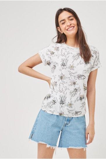 Ecru Paisley Bubble Hem T-Shirt