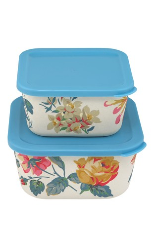 Set of 2 Cath Kidston® Pembroke Rose Bamboo Lunch Boxes
