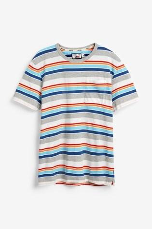 Grey/White Multi Mr Blue Sky Organic Cotton Stripe T-Shirt