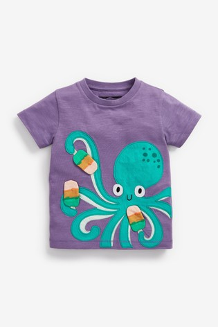 Purple Octopus Appliqué T-Shirt (3mths-7yrs)