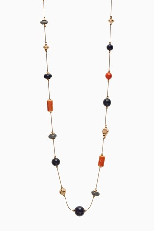 Accessorize Orange Simplicity Beaded Rope Necklace