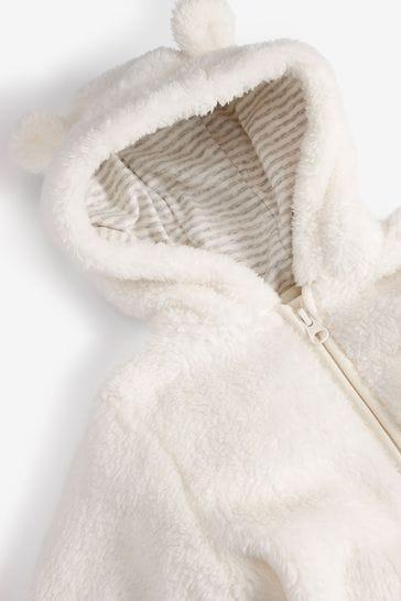 Cream Personalised Bear Pramsuit