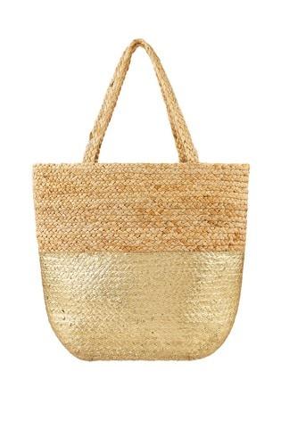 Accessorize Gold Sarah Metallic Beach Tote Bag