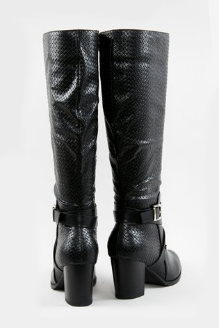 Wallis Headliner Black Woven PU High Leg Boots