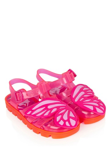 Girls Fuchsia Butterfly Jelly Sandals