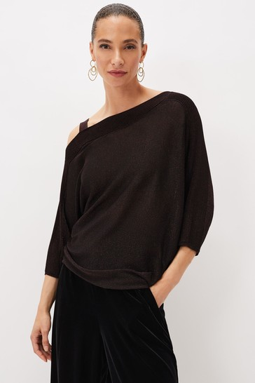 Phase Eight Red Aine Shimmer Knit Top