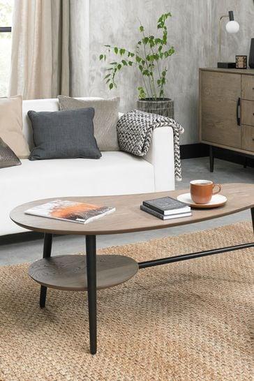 Vintage Weathered Oak Shaped Coffee Table by Bentley Designs