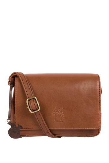 Conkca Brown Marta Leather Cross-Body Bag