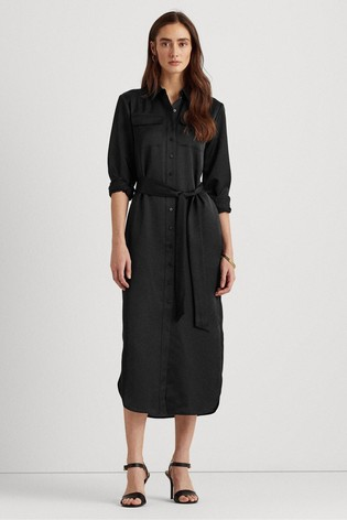 Lauren Ralph Lauren® Black Bishnal Midi Shirt Dress