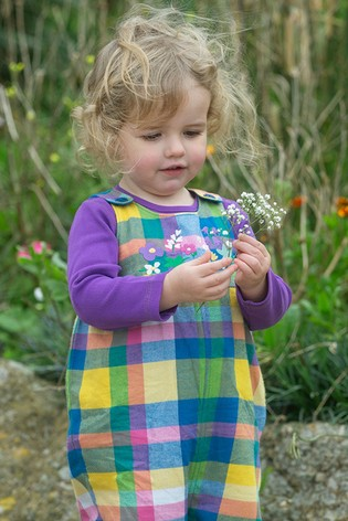 Frugi GOTS Organic Checked Lined Pink and Blue Dungarees
