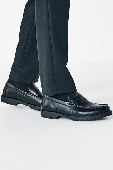 Black Cleated Sole Loafers