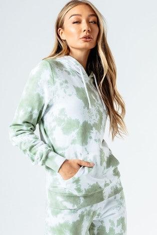 Hype. Womens Green Tie Dye Pullover Hoody