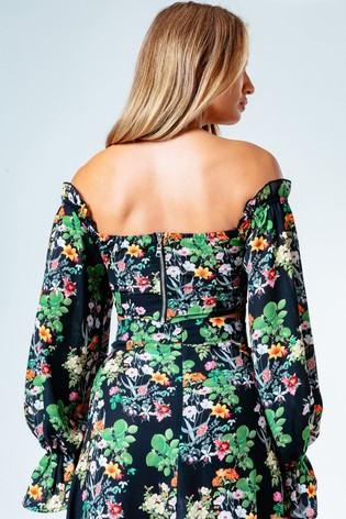 Hype. Womens Multi Ditsy Floral Bardot Top