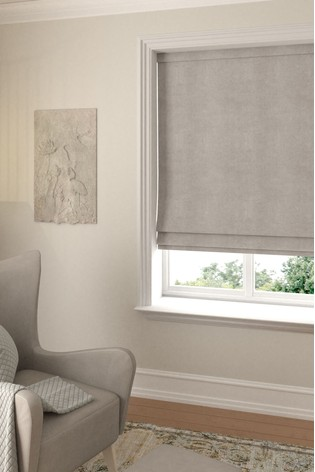 Soft Velour Stone Natural Made To Measure Roman Blind