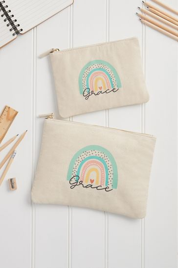 Cream Personalised Rainbow Pencil Case by Loveabode