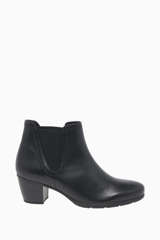 Gabor Ecological Black Leather Fashion Ankle Boots