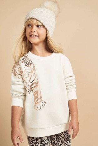 Mint Velvet White Tiger Print Sweatshirt