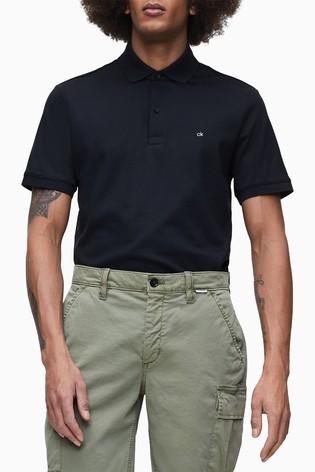 Calvin Klein Black Soft Interlock Slim Fit Polo