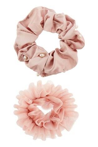 Monsoon Pink Pretty Pearl & Glitter Scrunchie Set
