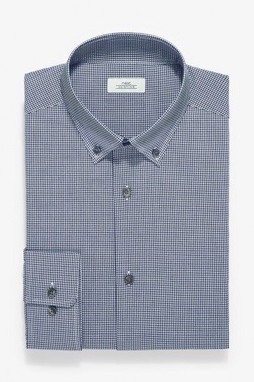 Dark Blue Check And Texture Slim Fit Single Cuff Shirts Three Pack