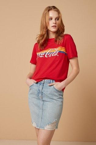 Coca-Cola Rainbow Red Graphic Stitch Detail T-Shirt