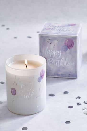 White Jasmine Happy Birthday Candle