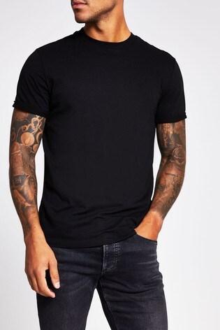 River Island Black Slim Roller Sleeve T-Shirt