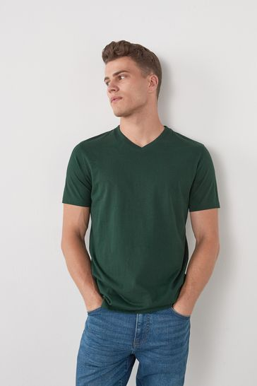 Bottle Green Regular Fit V-Neck T-Shirt