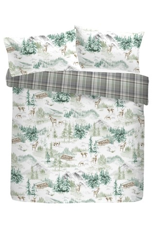 Snow Scene Tartan Reverse Duvet Cover and Pillowcase Set by Fusion