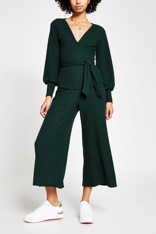 River Island Green Dark Belted Ribbed Culottes