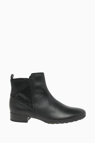 Gabor Bastia Black Leather Combination Fashion Ankle Boots