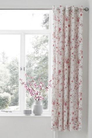 Catherine Lansfield White Jasmine Floral Eyelet Curtains