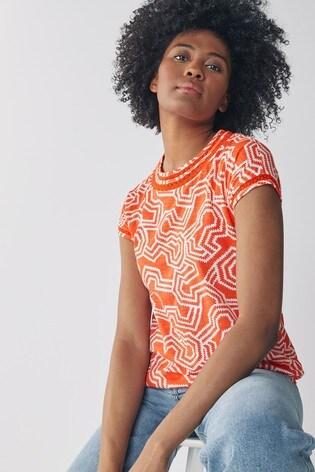 Red Geo Print Bubble Hem T-Shirt