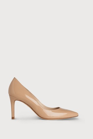 L.K.Bennett Nude Floret Patent Leather Pointed Toe Courts