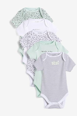 Mint Spot 5 Pack Slogan Short Sleeve Bodysuits (0mths-3yrs)